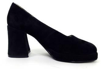 Stylish 90s Black Suede Platform Court Shoes In UK Size 5.5- 6