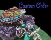 "Custom Order for Darlani - Mandala Blue Obsidian Netted Necklace 18"""