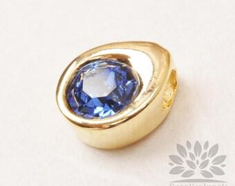 P882-09-G// Birthstone Series// Gold Plated Teardrop Swarovski Sapphire September Birthstone Pendant, 2pcs