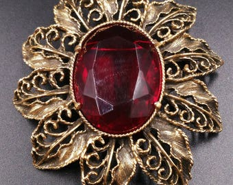 Red Glass Brooch, Big Faceted Glass Red Pin, Red Flower Pin, Antiqued Gold Petals Leaves, 1970's Jewelry
