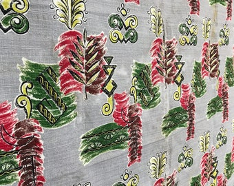 Midcentury Bark Cloth Floral Fabric