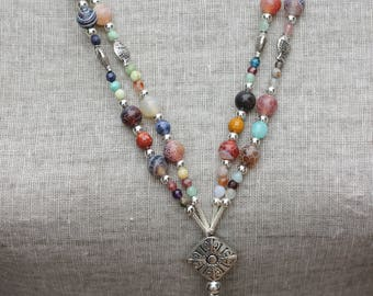 Native American Navajo Inspired by the Deni Tribe in Utah, Beachy, Long, Beaded, Starfish, Shell, Seahorse, Charm Necklace