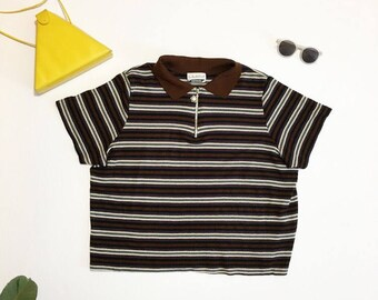 90s Striped Crop Top zipper neckline xlarge
