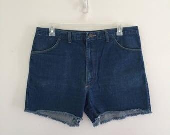 Vintage 70's Wrangler Cut Offs / Denim Jean Shorts L XL 36