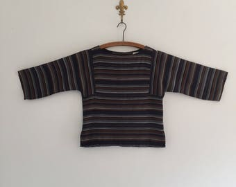Vintage 80's Earthy Striped Top S