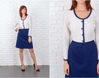 Vintage 70s White + Navy Blue Dress Color Block Mod Mini Small S 9662