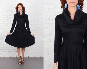 Vintage 70s Black Mod Dress A Line Pleated Cowl Accordion Small S 10285