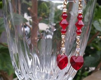 Crystal hearts Beaded earrings