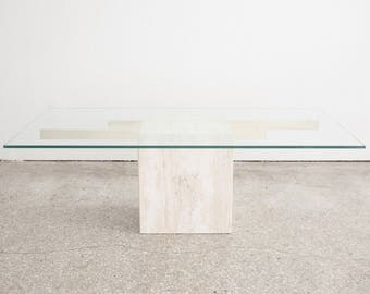Mid Century Glass & Marble Coffee Table