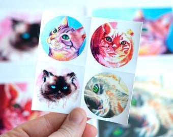 Cat Watercolor Art Stationary Set with Matching Stickers and Envelopes