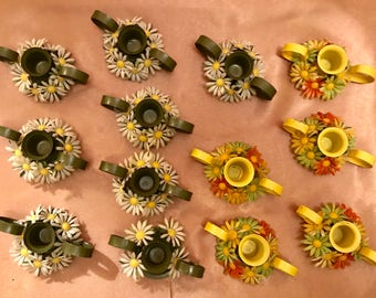 Set of 13 Vintage Shabby Chic Metal Candleholders with Plastic Flowers