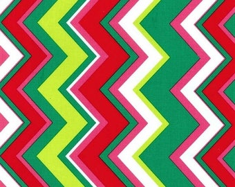 SHOP CLOSING SALE Michael Miller Christmas Fabric by the yard Chevy Chevron in Garland 1 yard
