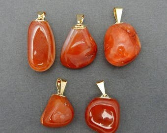15% off Xmas in July Over Stock Sale Petite Carnelian Pendant- Tumbled Carnelian Pendant with Gold Plated Bail (S81B11-11)