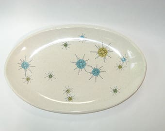 "Franciscan STARBURST Atomic 15"" Long Oval Platter -Mid Century Modern California Pottery"