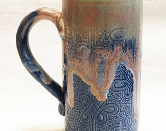 lace design stoneware 20oz ceramic coffee mug 20D072