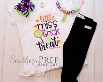 Little Miss Trick or Treat - Girl's holiday - Halloween Applique Shirt - Girl's Halloween Shirt - Holiday Designs - Monogrammed Shirt