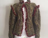 RESERVED for Whenmsam  Gil Aimbez / Hand Crochet Sweater / 80s Designer / High Fashion / Fall Clothes / Puffy Shoulder