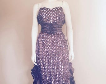Gunne Sax Dress / Jessica McClintock / Purple Prom Dress / 90s / Long Sequin Dress / Sweetheart Dress