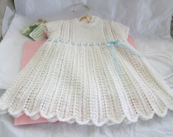 Hand Knit Baby Dress Pure Wool Ready to ship 6M White Lace Christening Baptism