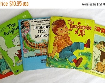 20% Summer SALE Collection of 5 Vintage Whitman Tell-A-Tale Books: Best Surprise, Jerry Dr Dave, Aristocats, Garden Grown and Sinbad, 1960s-