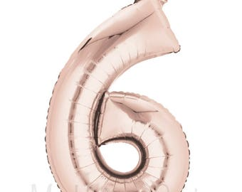 "Large Rose Gold Number ""6"" Balloon 34"" Mylar Number Balloon 6th Birthday Photo Prop New Rose Gold Balloons 6th Anniversary"