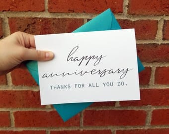 Work Anniversary Greeting Card with Matching Shimmery Turquoise Envelope