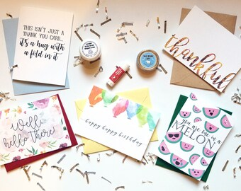 5-Card Greeting Card Box with Envelopes, Postage and Skin Care Products