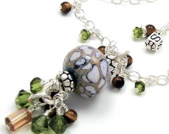 Lampwork Glass Necklace Bali Bead Pendant Sterling Silver Swarovski Crystal Tiger Eye Green Brown Wire Wrapped Beaded Handmade Jewelry