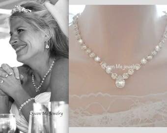 Crystal wedding necklace, Swarovski crystal necklace, Brides necklace, clear sparkling crystals, Stunning,Crystal statement necklace, SOPHIA