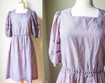 1970s 1980s Vintage Pink Gray Striped Dress Pastel Preppy Thin Stripes Vertical Grosgrain Trim