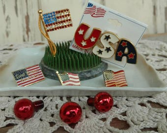 Retro 1990's Patriotic Pin Collection - Vintage Enameled Lapel Pins, Red + White + Blue Brooches, Patriotic Costume Jewelry, Rhinestone Pin