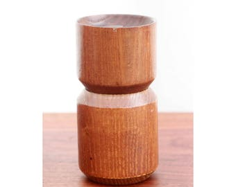 Vintage Mid Century Modern Michael Lax for Copco Teak Pepper Mill - Sculpted Teak Pepper Grinder