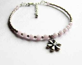 Pink Beaded Flower Charm Bracelet, Delicate Boho Layering Bracelet, Skinny Stacking Bracelet, One Size Fits All