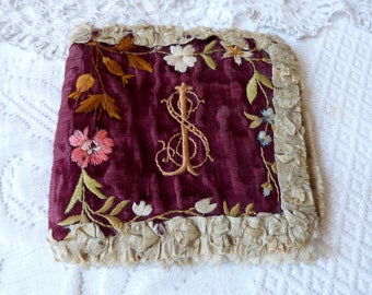Antique French sampler pocket w floral embroidery w monograms IS w cross sewing sampler hand embroidered needle art, silk lining, needles