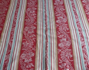 Vintage linen mattress ticking BIG French red ticking stripe fabric antique red floral striped mattress toile supply textile French fabric