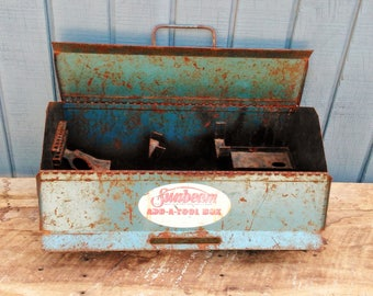 Vintage Tool Box - Tackle Box - Sunbeam Add a Tool Box - Vintage Metal Planter - Succulent Planter