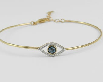 Yellow Gold Diamond Evil Eye Bangle Bracelet Good Luck Great Gift