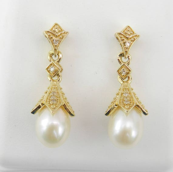 Pearl and Diamond Dangle Drop Earrings Yellow Gold June Birthday Wedding Gift