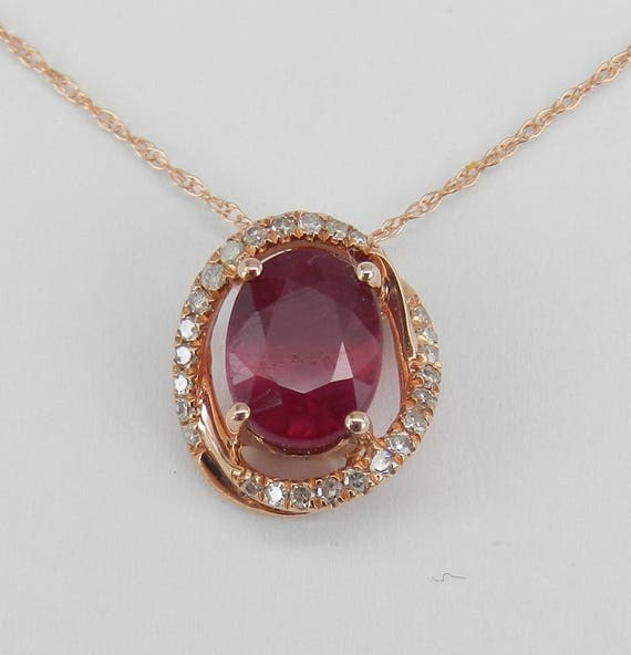 "Ruby and Diamond Halo Pendant Rose Gold Necklace 18"" Chain July Birthstone"