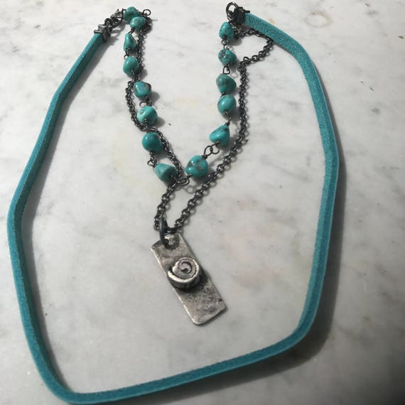 Blue Campitos Turquoise - Blue Leather - Oxidized Sterling Silver - Raw - Urban Cowgirl - Sundance Style Artisan Jewelry