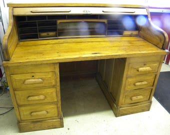 good shape antique 1920s oak double pedestal s curve raised panel roll top desk pick up