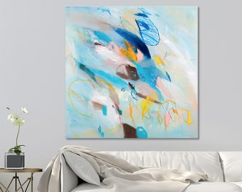 Colorful Modern Canvas art Large City Art 32x32 Teal painting with brown blue and yellow large abstract painting by Duealberi