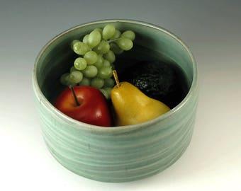 Minimalist Green Ceramic Bowl,  Stoneware Pottery Bowl, Pottery Serving Bowl, Handmade Salad Bowl, Housewarming Gift, Shower Gift, B121