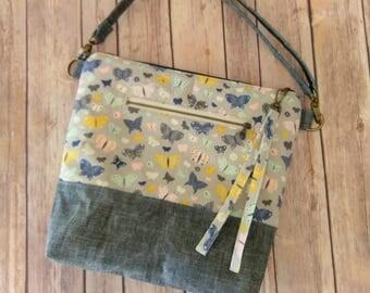 Butterflies crossbody, butterfly crossbody bag, butterfly print fabric, waxed denim bag, denim messenger bag, butterfly travel bag, hobo bag
