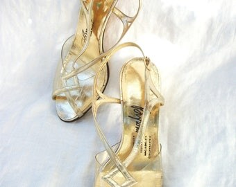 1960's Metallic Gold ~ Clear Plastic Peeptoe~ Leather Slingback's ~ Pin Up Rockabilly ~ 50's