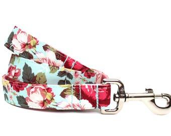 "Floral Dog Leash 1"" Aqua Dog Leash"
