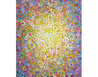 Original Abstract Acrylic  Painting on Stretched canvas ''Meditation'' 24x18 pink blue white yellow
