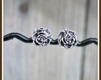 Magnetic Rose Earrings, Magnetic Flower Earrings, Magnetic Silver Flower Earrings, Non Pierced Flower Earrings, Non Pierced Rose Earrings