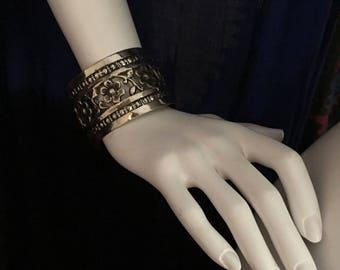 Vintage Afghanistan KUCHI Pashtun Filigree Golden Brass CUFF Bracelet Tribal Belly Dance Uber Kuchi®