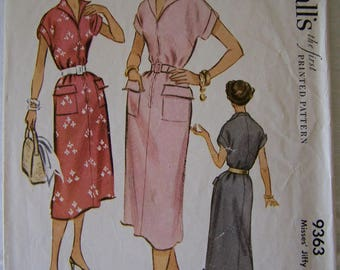 McCall's Vintage Sewing Pattern 9363 Womens Dress from 1953 Size 16 Bust 34